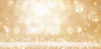 Lumières d'or de Noël Photos stock