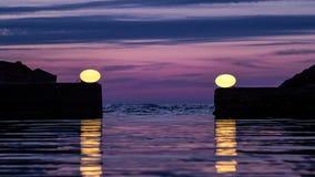 Lumières d'entrée de port Image stock