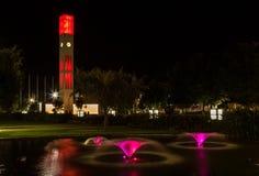 Lumières d'horloge de ville Photo stock