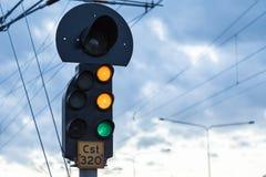 Lumières de croisement de train Images stock