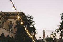 Lumières de ficelle en parc de Balboa image stock