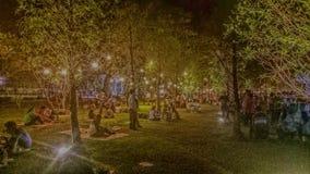 Lumières de jardin la nuit Images libres de droits