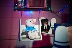 Lumières de Joyeux Noël sur un arbre Photo stock
