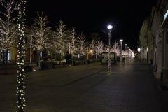 Lumières de Noël au centre de la ville de Cluj Napoca, Roumanie images stock