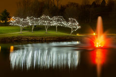 Lumières de Noël avec une fontaine d'étang Photo stock