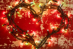 Lumières de Noël d'amour de concept de carte de vacances Photos libres de droits