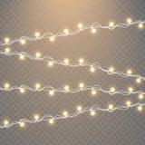 Lumières de Noël d'isolement sur le fond transparent Ensemble de guirlande rougeoyante d'or de Noël Illustration de vecteur Photographie stock libre de droits