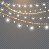Lumières de Noël d'isolement sur le fond transparent Ensemble de guirlande rougeoyante d'or de Noël Illustration de vecteur Images libres de droits