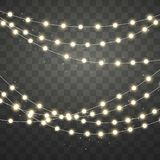 Lumières de Noël d'or d'isolement sur le fond transparent Guirlande rougeoyante de Noël Éléments décoratifs de conception de vaca illustration libre de droits
