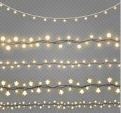 Lumières de Noël d'isolement sur le fond transparent Guirlande rougeoyante de Noël Illustration de vecteur Photographie stock libre de droits