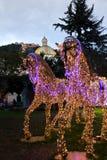 Lumières de Noël dans Salerno images libres de droits