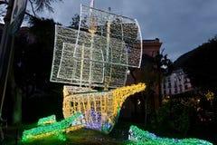 Lumières de Noël dans Salerno photo stock
