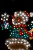 Lumières de Noël de bonhomme de neige Image stock