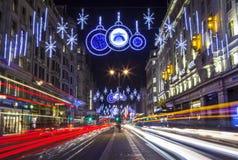 Lumières de Noël de brin à Londres Photographie stock