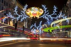 Lumières de Noël de Londres sur Regent Street Images libres de droits