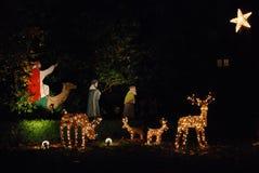 Lumières de Noël de pièce de Navity photographie stock libre de droits