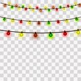 Lumières de Noël Elemets de carte de voeux de Noël et de nouvelle année Illustration de vecteur illustration de vecteur
