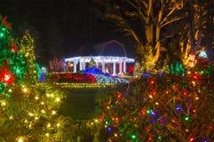 Lumières de Noël en parc d'état d'acres de rivage, Orégon photos stock