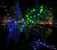 Lumières de Noël extérieures Images stock