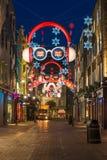 Lumières de Noël sur la rue de Carnaby, Londres R-U Image libre de droits