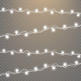 Lumières de Noël sur le fond transparent Ensemble de guirlande rougeoyante d'or de Noël Illustration de vecteur Photo libre de droits