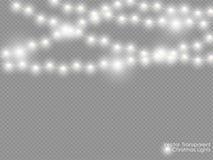 Lumières de Noël de vecteur d'isolement sur le fond transparent Décoration semi-transparente blanche rougeoyante de lumière de no Photos libres de droits