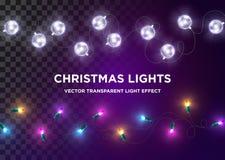 Lumières de Noël de vintage de vecteur Ensemble de lumière multicolore de Noël illustration stock