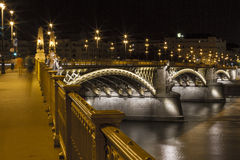 Lumières de nuit à travers le Danube Images stock