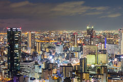 Lumières de nuit, affaires centrales d'Osaka du centre Photos stock