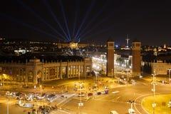 Lumières de nuit de Barcelone Photo libre de droits