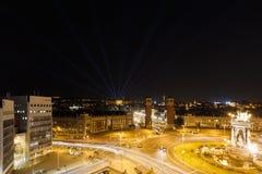 Lumières de nuit de Barcelone Photographie stock libre de droits