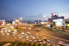 Lumières de nuit de la grande ville, fond de bokeh, Ho Chi Minh Ville image libre de droits