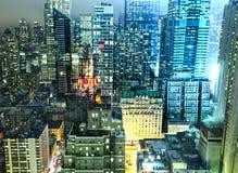 Lumières de nuit de New York City Photographie stock
