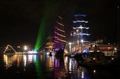 Lumières de port de nuit Images stock
