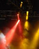 Lumières de signal d'échantillonnage à un concert Images libres de droits