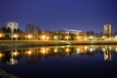 Lumières de Tallinn de nuit Image stock