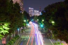 Lumières de véhicules en mouvement à Yokohama, Japon photos libres de droits