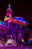 Lumières de vacances de bâtiment de Denver City et du comté Photo stock