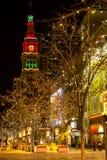 Lumières de vacances sur le 16ème mail Denver de rue Photo stock