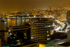 Lumières de Valparaiso Images libres de droits