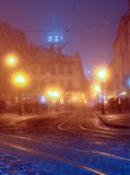Lumières de ville de Lwow Photo stock