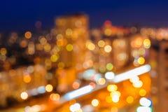 Lumières defocused brouillées de nuit image stock
