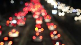 Lumières defocused brouillées de voiture sur l'embouteillage clips vidéos