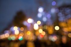 Lumières Defocused de ville de bokeh images libres de droits