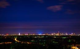 Lumières du centre d'Austin Texas Night Cityscape Overlooking City photographie stock libre de droits