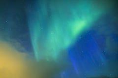 Lumières du nord étonnantes et uniques Aurora Borealis Over Lofoten Islands Image libre de droits