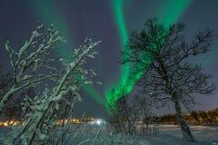 Lumières du nord/aurora borealis Photographie stock