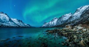 Lumières du nord (aurora borealis) au-dessus de fjord de la Norvège banque de vidéos