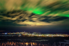 Lumières du nord d'aurora borealis spectaculaire images stock