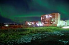 Lumières du nord dans Artic Vorkuta Photographie stock